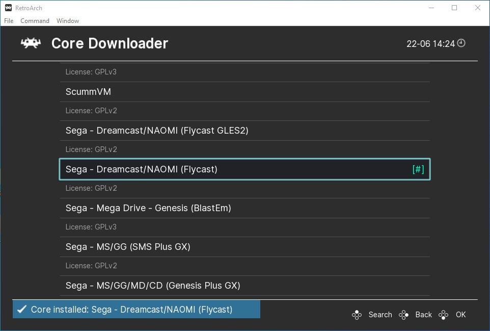 retroarch pc main menu online updater core downloader flycast dreamcast