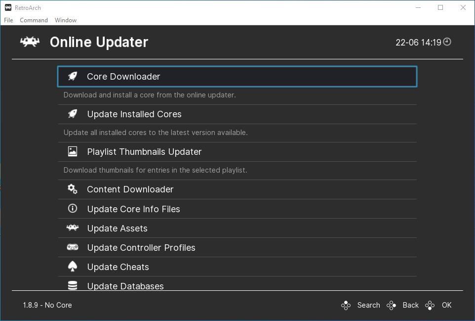 retroarch pc main menu online updater core downloader