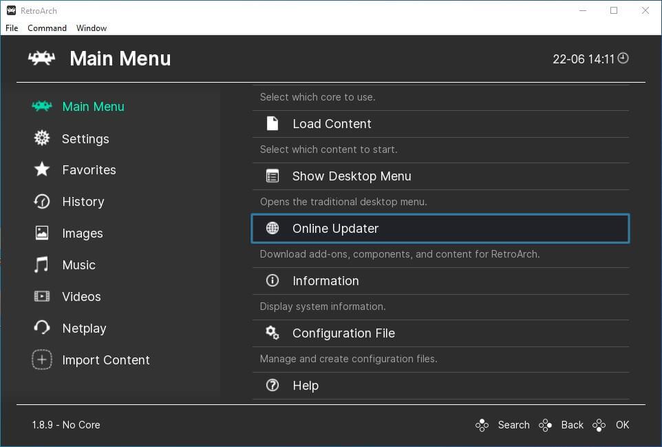 retroarch pc main menu online updater