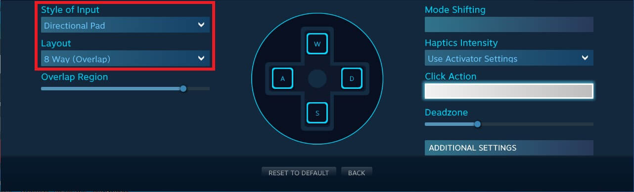 controller configuration steam game map wasd arrow keys directional