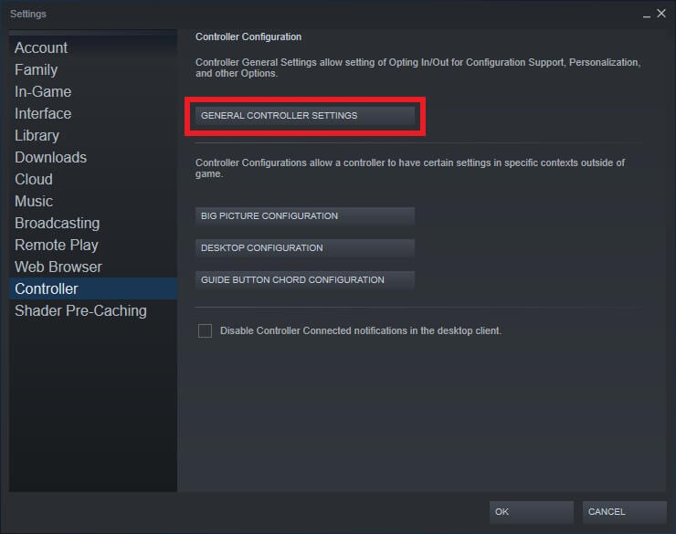 controller steam settings