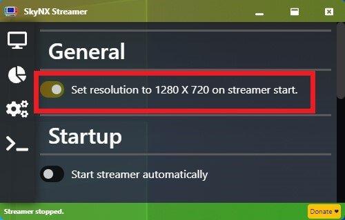 skynx settings 720p resolution
