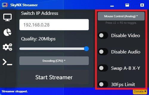 skynx switch stream remote play options