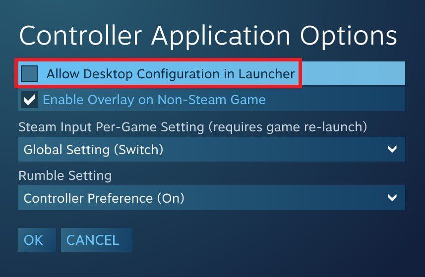 steam big picture mode controller options desktop mode disable