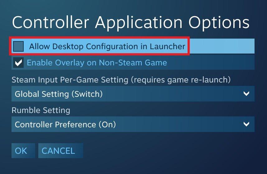 steam big picture mode controller options desktop mode disable