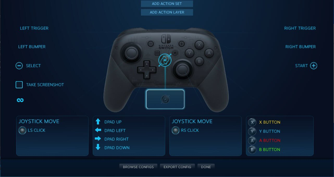 switch pro controller pc steam config