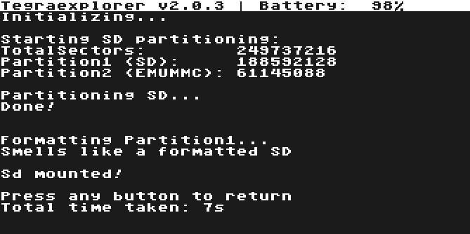 tegra explorer bin payload sd format emummc emunand complete