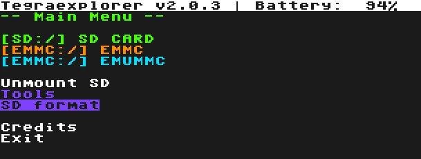 tegra explorer bin payload sd format emummc emunand main menu